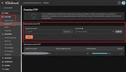 Crear FTP SiteGround