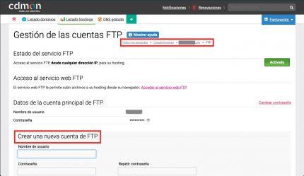 Crear FTP CDmon