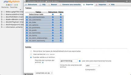 Exportación personalizada base datos phpmyadmin