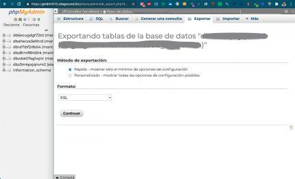 Exportación rápida base datos phpmyadmin
