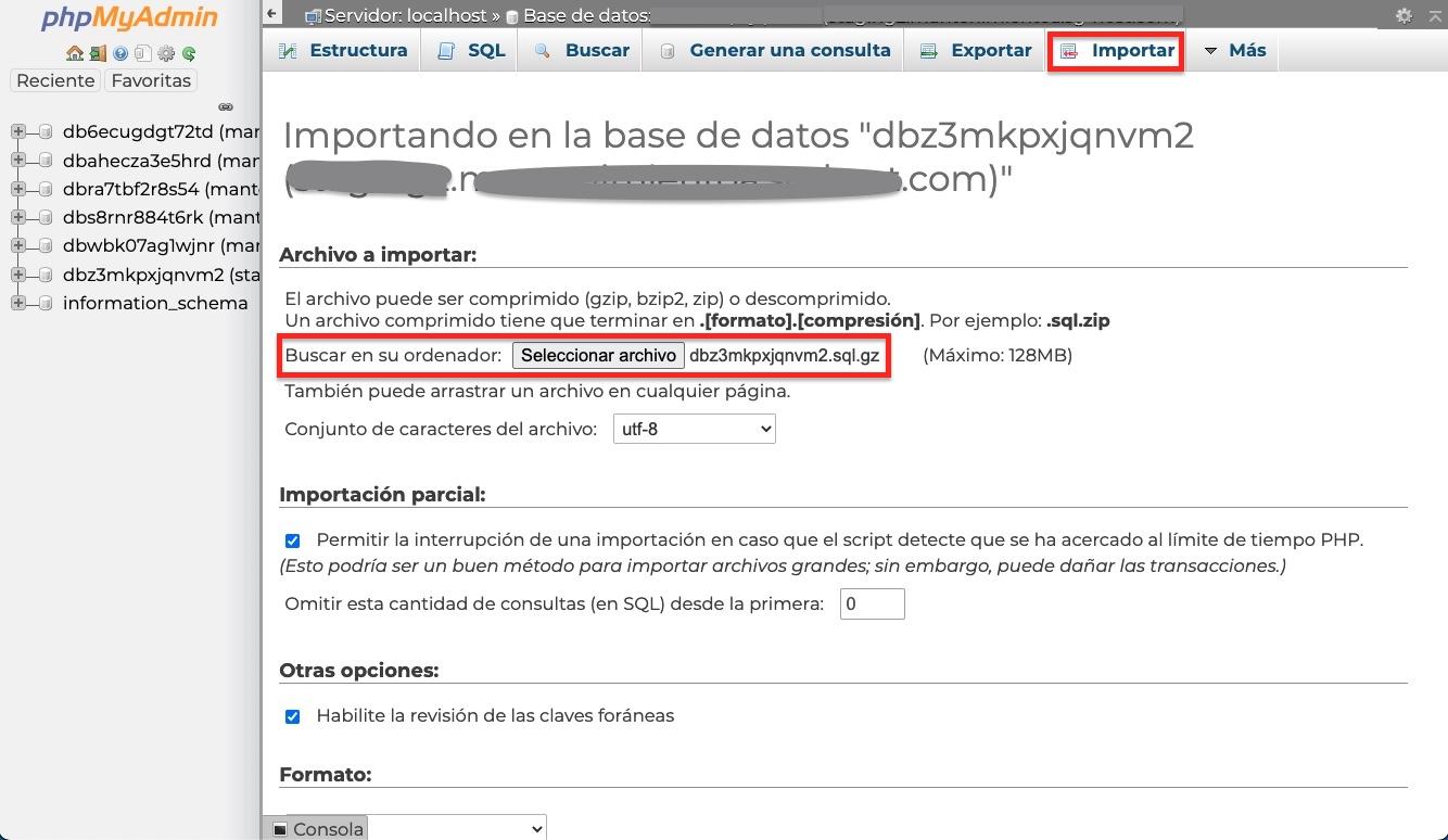 importar base datos WordPress phpmyadmin