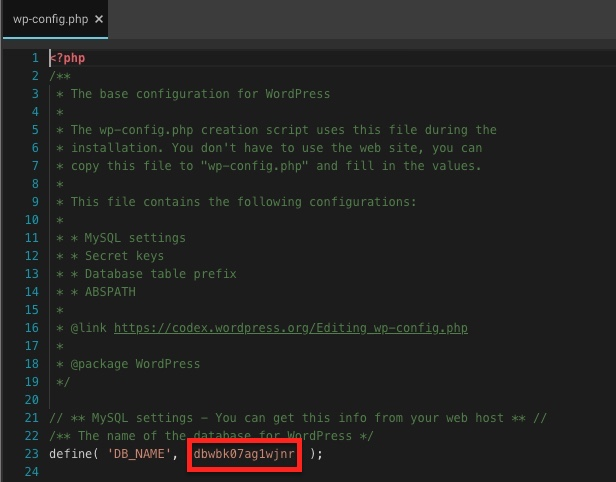 archivo wp-config.php WordPress datos conexión base datos