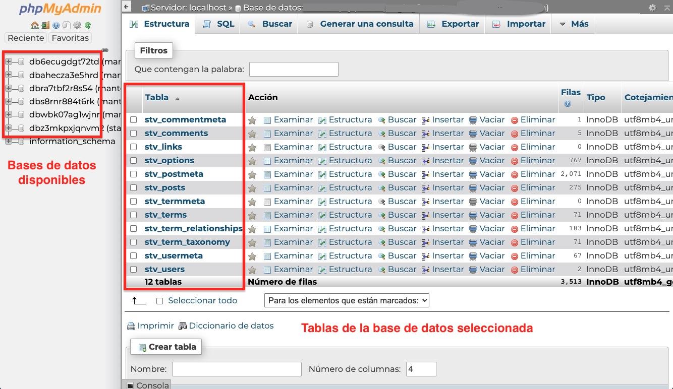 bases de datos WordPress phpMyAdmin
