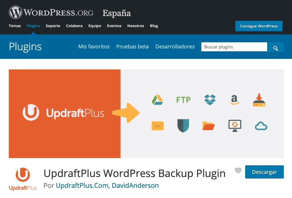plugin WordPress updraftplus copias de seguridad backup