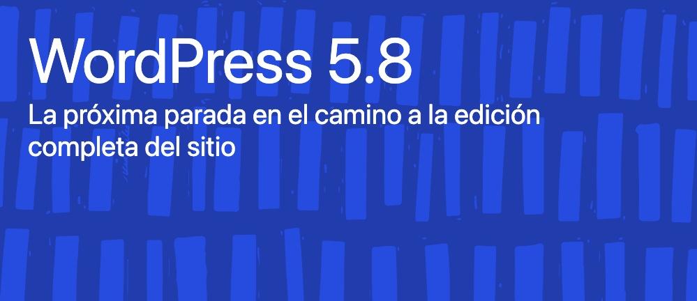 fondo azul con texto de WordPress 5.8